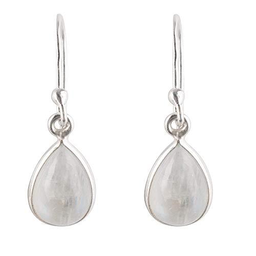 Simply Züssi Pendientes de piedra de luna para mujer, de plata de ley 925, piedra de luna auténtica, joya para mujer en forma de gota