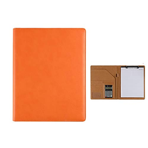 Portfolio map met Ringband Resume Lederen Map Interview Schrijven Van Juridische Pad File Manager Met Rekenmachine Klembord Kladblok voor Interview (Color : Orange, Size : 320x245mm)