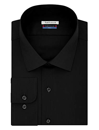 "Van Heusen Men's FIT Dress Shirts Flex Collar Solid (Big and Tall), Black, 19"" Neck 37""-38"" Sleeve (3X-Large)"