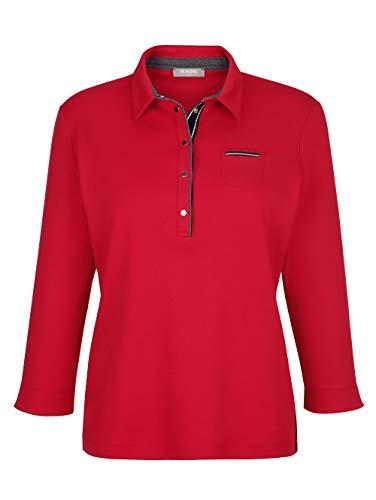 Rabe Damen Leicht tailliertes Poloshirt mit 3/4-Ärmel in Rot aus Baumwolle