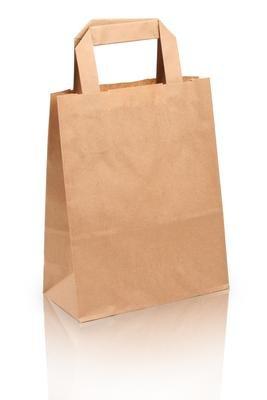 250 Papiertragetaschen Papiertaschen Tüten Papiertüten Tragetaschen braun 18 + 8 x 22 cm