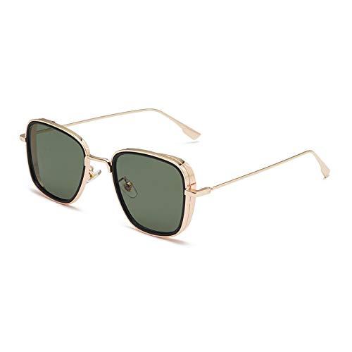 YOULIER Gafas de sol cuadradas para hombre de metal negro plata oro marco gafas a prueba de viento Uv400 1184-5