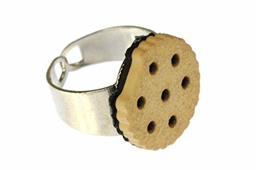 Miniblings Keks Doppelkeks Cookie Ring - Keks Doppelkeks Cookie - Handmade Modeschmuck I Fingerring mit Motiv I verstellbar one Size