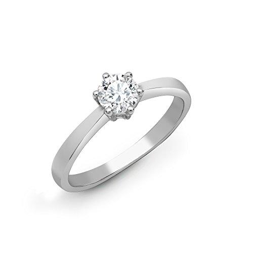 Jewelco Europa Juego de 6 garras de oro blanco sólido de 18 quilates para mujer, redondo G SI1, anillo de compromiso de diamante solitario de 1 quilates, 8 mm