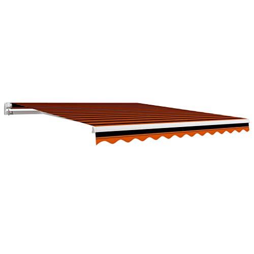 vidaXL Markisenstoff Wasserabweisend Markisentuch Sonnenschutz Sonnensegel Sichtschutz Markise Ersatztuch Segeltuch Orange Braun 3x2,5m