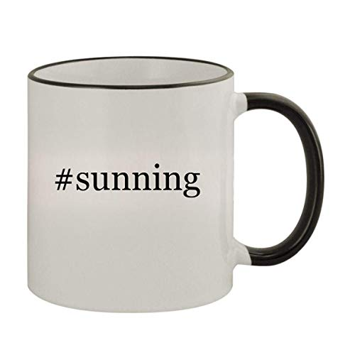#sunning - 11oz Ceramic Colored Rim & Handle Coffee Mug, Black