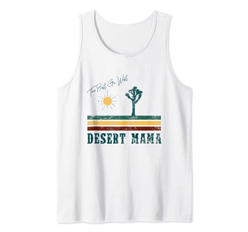 Desert Mama Mujer Estilo Vintage 70s Southwest Joshua Cactus Camiseta sin Mangas