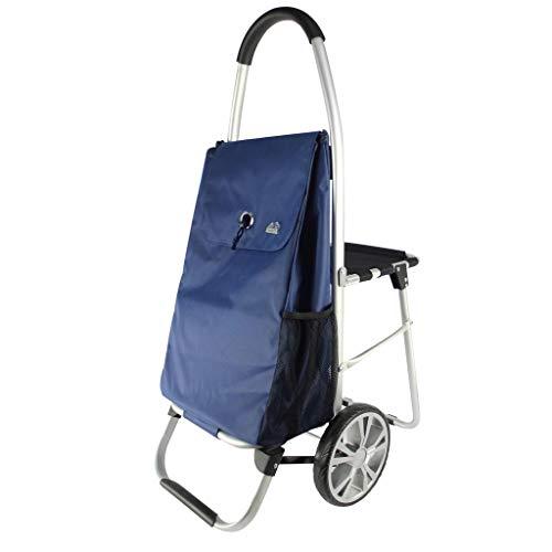 Boodschappentrolley met een bank, kruiwagen, om een etenswagen, draagbare zitwagen, kinderwagen, opvouwbaar, afmetingen 32 x 60 x 100 cm, Rosa Roja (blauw) - WKMJUSX