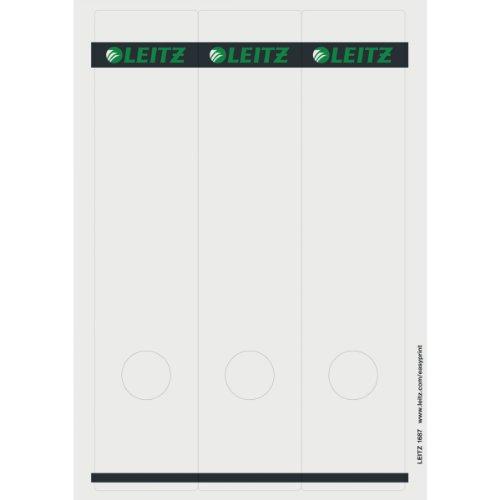 Leitz PC-beschriftbare Rückenschilder selbstklebend für Standard- und Hartpappe-Ordner, 75 Stück, Langes und breites Format, 62 x 285 mm, Papier, grau, 16870085