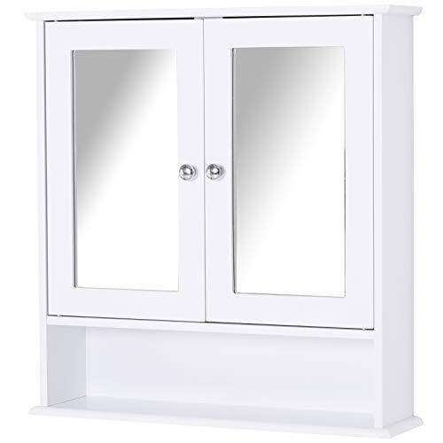 kleankin Spiegelschrank, Wandschrank mit 3 Ablagen, Schminkschrank, MDF, Weiß, 56 x 13 x 58 cm
