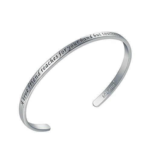Solocute Silber Damen Armband mit Gravur A True Friend Reaches for Your Hand But Touches Your Heart Inspiration Frauen Armreif Schmuck
