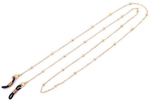 BiChuang Likgreat Brillenkette für Damen, Perlenkette für Lesebrillen, Sonnenbrillen, Brillenhalter Gold, , Black Connector