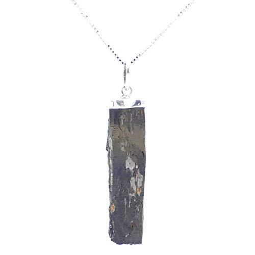 ARITZI - Colgante en Plata de Ley 925 con Forma de Punta en Piedra Natural - Incluye una Cadena Box Chain de 45cm de Plata - Turmalina Verde Bruto
