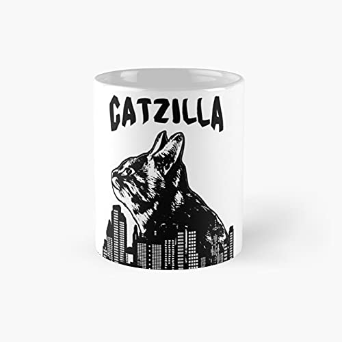 Black Catzilla Katze Cat Cats Big Cute Classic Mug - Gift The Office 11 Ounces Funny White Coffee Mugs-nilinkep