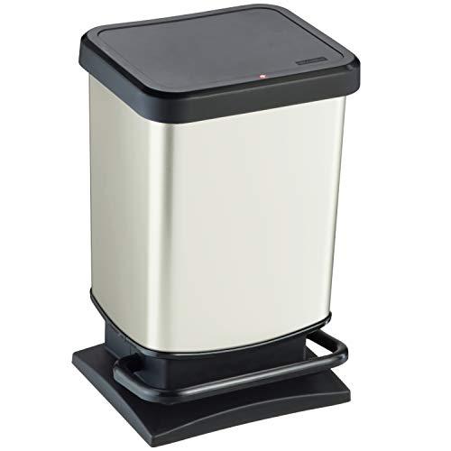 Rotho Paso Mülleimer 20 l mit geruchdichtem Deckel, Kunststoff (PP), weiss metallic, 20 Liter (29,3 x 26,6 x 45,7 cm)