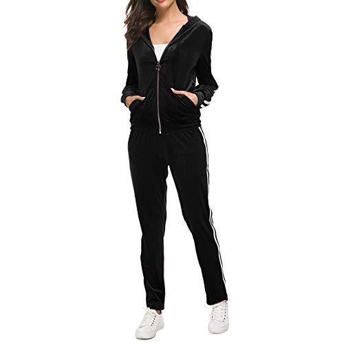 MINTLIMIT Damen Trainingsanzug Hausanzug Velours Sportanzug mit Samtoptik Kapuzejacke mit Reißverschluss Hose