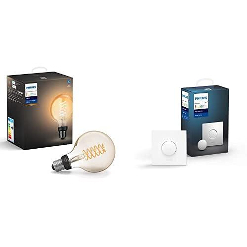 Philips Hue Bombilla Inteligente Led E27, Con Bluetooth, Filamento Globo G93, Luz Blanca Cálida, Compatible Con Alexa Y Google Home + Interruptor Smart Button, Compatible Con Alexa Y Google Home