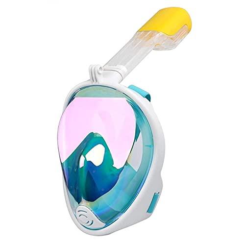 AWJ Buceo Máscara de Buceo Máscara de Buceo Submarino Seguro Antiniebla Máscara de esnórquel de Cara Completa Equipo de Buceo con esnórquel para Mujeres y Hombres (Color: Rosa, Talla: L-XL)