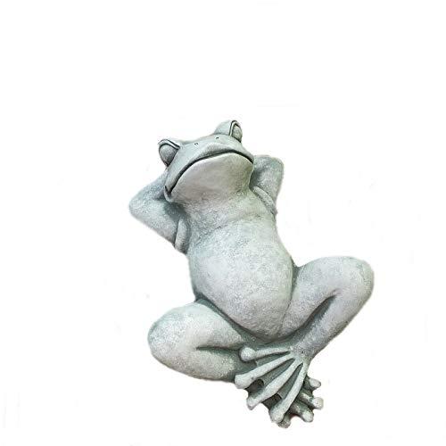 Steinfigur Frosch Relax Kröte zum Legen oder aufhängen Steinguss Frostfrei 30 cm