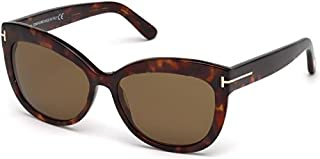 Tom Ford Women's Alistair FT0524 54H Polarized Wayfarer Sunglasses, Brown, 56 mm
