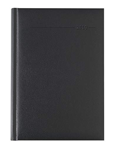 Buchkalender Balacron schwarz 2019 - Bürokalender A5 / Cheftimer A5 - 1 Tag 1 Seite - 352 Seiten - Balacron-Einband