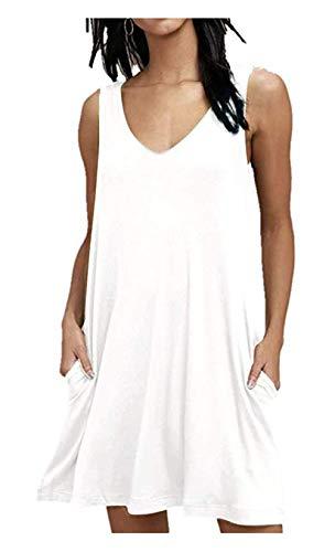 Wander Agio Cover up Beach Swimsuit Bikini Elastic Coverups Swimwear for Women V-Neck Pure White Small