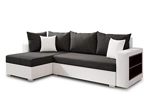 Ecksofa Lord mit Regal und Schlaffunktion - Sofa mit Bettkasten, Schlafsofa, Polsterecke, Couch L-Form, Couchgarnitur, Sofagarnitur (Weiß + Schwarz (Dolaro 511 + Berlin 02), Ecksofa Links)