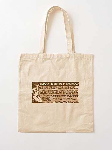 Vintage Skinmag Retro Nudist Ad | Einkaufstaschen aus Segeltuch mit Griffen, Einkaufstaschen aus nachhaltiger Baumwolle