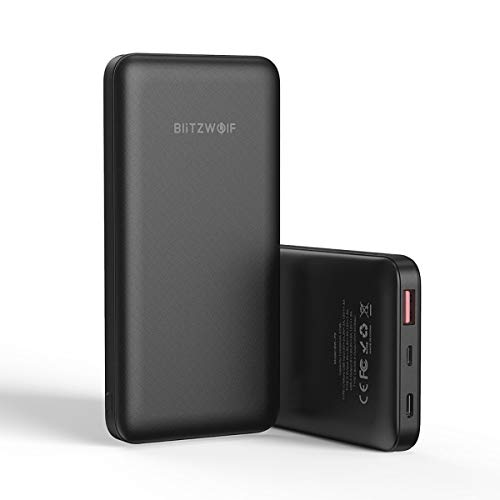 BlitzWolf Batería Externa 10000mAh, Power Bank 18W QC3.0 PD3.0 Tipo C + USB Puertos Cargador Portátil Móvil Carga Rápida para iPhone, Samsung, Huawei, Tabletas y etc.