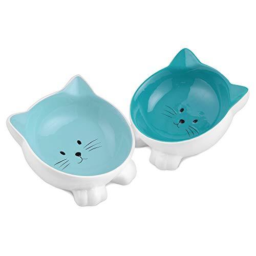Navaris Set 2X Ciotola Gatto - 2 Scodelle in Ceramica per Animali - Vaschette per Cibo Secco e Umido - Pet Bowls Antiscivolo per Cani Gatti e Conigli
