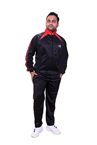 DST Men's Polyester Regular Fit Track Suit (Black)