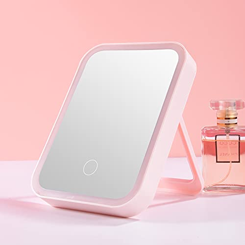 Bird&Fish Vanity Mirror with Lights Makeup Mirror Lighted LED Desk Mirror Touch Control 3 Color Lighting Modes Portable Cosmetic Travel MirrorTabletop Make Up Mirror USB Rechargeable (Pink)