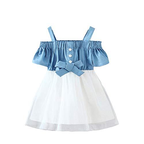 Carolilly Tutu Kleid Baby Mädchen Sommerkleid Kleinkind Strandkleid Blumendruck Brautkleid für Mädchen Urlaubskleid Prinzessin Kleid (Blau C, 3-4 Jahre)