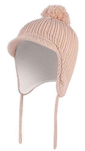 DEMU gebreide muts met pompon baby beanie oorflaps gevoerd wintermuts oorkleppen pet S(46-48CM)0-12 Monate roze