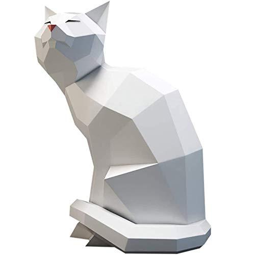 XinLuMing Gato Origami Creativo Pared Colgante Modelo 3D Impermeable estéreo Pared decoración DIY Hechos a Mano para Interior Pared Etiqueta Dormitorio baño Sala de Estar Mural (Color : White)