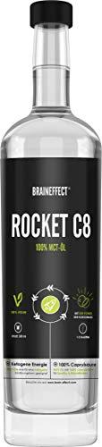 BRAINEFFECT MCT Öl C8 - ROCKET C8 Octane Oil (100% Caprylsäure), Made in Germany - 500ml Extrakt aus Kokosöl, ketogene Ernährung, Bulletproof Coffee, Smoothies & Dressing, geschmacksneutral & vegan