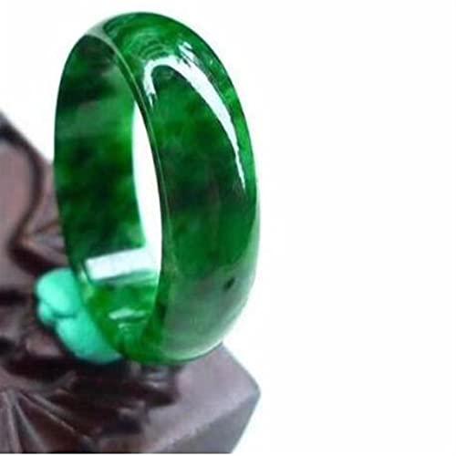 sdfpj Anillo de Jade Natural Burmese Joyas Joyas Joyas Fina Joyería Seco Flowering Green Finger Anillo Esmeralda Hombres y Anillo de Mujeres (Gem Color : Inner Diameter 18 mm)