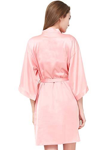LHK Strickjacke V-Ausschnitt Seide Bademantel Kleid Strickjacke Kleid Robe Fünf-Punkt-Ärmel Bademantel Bademantel-Pink_XL