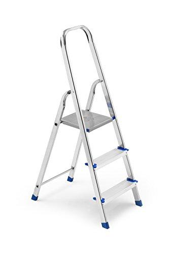 FRAMAR Europiuma 3 Scala Domestica, 3 Gradini, Portata 150 kg, Altezza Pianetto 62 cm, Struttura in Alluminio, 41 x 66 x 123 cm