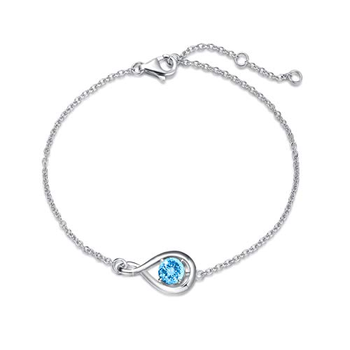 FANCIME 925 Sterling Silver March Birthstone Bracelet Infinity Aquamarine Bracelet with Fine Jewellery Box Christmas Birthday Valentine's Day Mother's Day Present for Women Mother