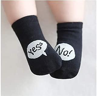 Lovely Socks Children Cotton Socks Kids Spring and Summer Anti-Slip Letter Patterns Short Tube Socks (White) Newborn Sock (Color : Black, Size : S)