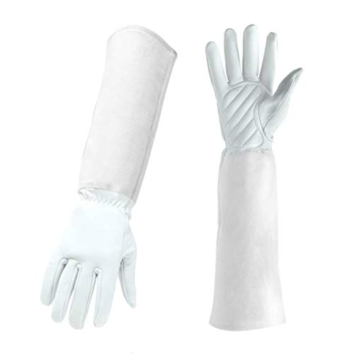 White Gardening Gloves Leather Women and Men Faux Thorn Cut Proof Garden Work with Long Heavy Duty Gauntlet for Thorny Bushes Cacti Rose Pruning Landscaping Farming Handling 17.72
