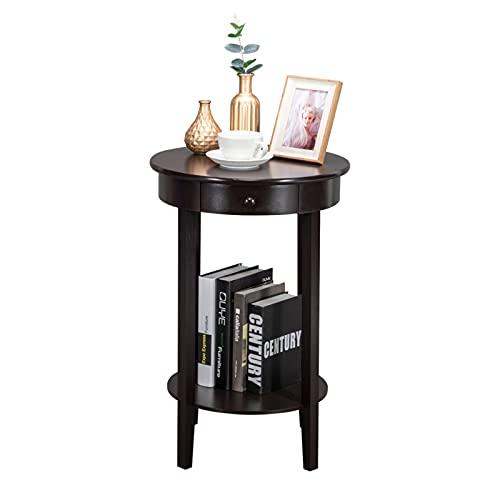 SHUJINGNCE 47x47x71cm Ronde Simple avec tiroir Table Basse Table Basse Table d'extrémité de Table Brown pour la Salle de Livraison