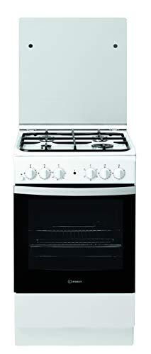Indesit F156139 IS5G4KHW/EU, Cucina 50X60cm con Forno Elettrico, a Libera Installazione, 4 Fuochi a Gas, Acciaio