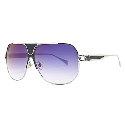 Secuos Moda Gafas De Sol Vintage De Una Pieza para Hombre, Gafas De Sol De Gran Tamaño para Exteriores, Accesorios para Gafas, Montura Metálica, Gafas Bluelens