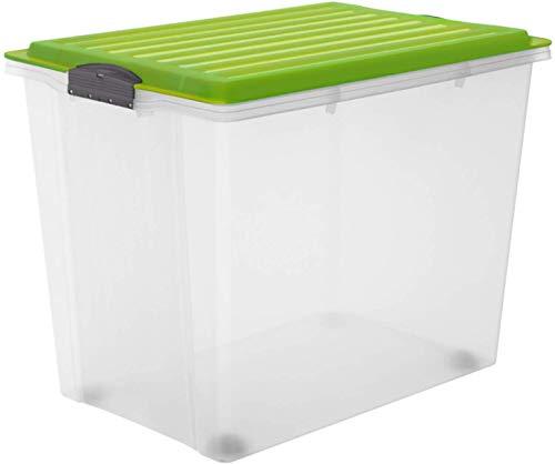 Rotho Compact Aufbewahrungsbox 70l mit Deckel und Rollen, Kunststoff (PP) BPA-frei, grün/transparent, A3/70l (57,0 x 39,5 x 43,5 cm)