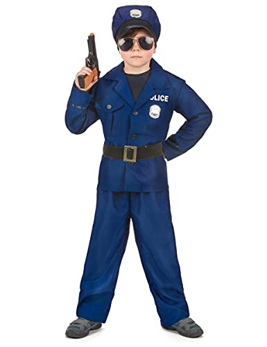 DEGUISE TOI Déguisement Policier Luxe garçon - Bleu - S 4-6 Ans (110-120 cm)