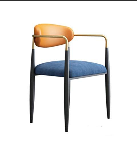N-B Silla de Hierro Azul Personalizada, hogar con Respaldo y sillón, Silla de Comedor de Cocina, sillón, Silla de café, Silla de Oficina Multifuncional de Alta Gama para Hotel (Naranja, Blanco)