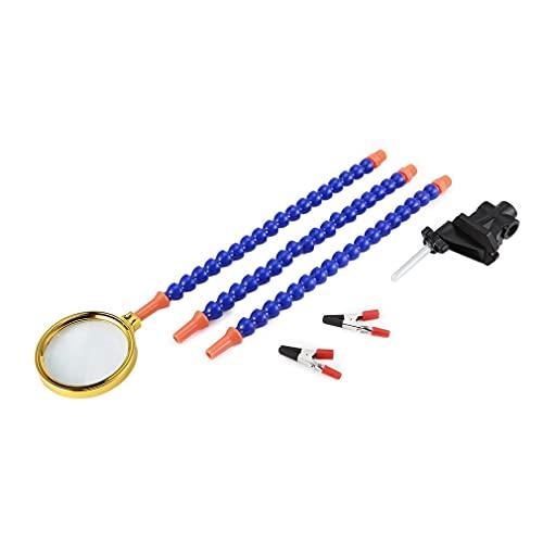 OUYBO - Soporte de aleación para manos extrañas brazos de soldadura, banco de soldadura, estación de abrazadera de mesa, 4 unidades, flexible, giratorio, con lupa, accesorios de batería (color: 07)