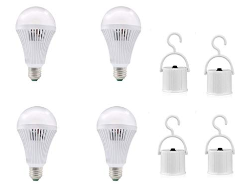Emergency LED Light Bulb 4 Pack,5 W White Emergency LED Bulbs with Hook,Human Body Induction Intelligent Rechargable Light Bulbs for Hurricane Power Outage Camping,60W Equivalent